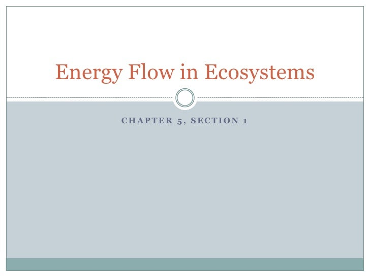 Chapter 5, section 1<br />Energy Flow in Ecosystems<br />