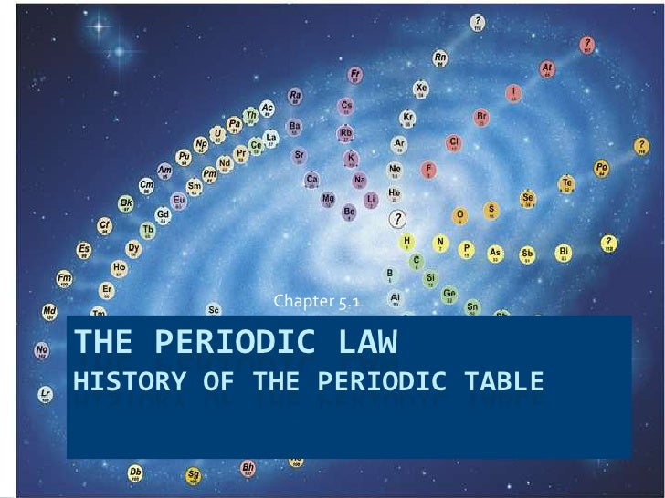 The Periodic LawHistory of the Periodic Table<br />			Chapter 5.1<br />
