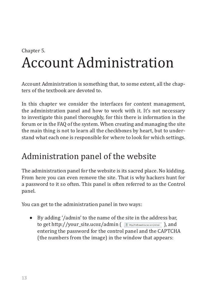 Account AdministrationChapter 5.Account Administration is something that, to some extent, all the chap-ters of the textboo...