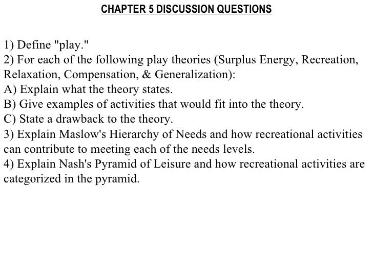 "CHAPTER 5 DISCUSSION QUESTIONS 1) Define ""play."" 2) For each of the following play theories (Surplus Energy, Rec..."