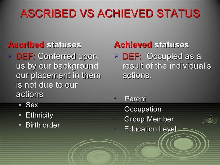 ascribed status Did you know that race and gender are both examples of ascribed status learn more about ascribed status from examples and test your knowledge with.