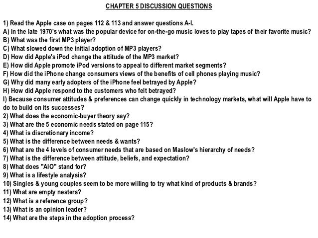 CHAPTER 5 DISCUSSION QUESTIONS1) Read the Apple case on pages 112 & 113 and answer questions A-I.A) In the late 1970s what...