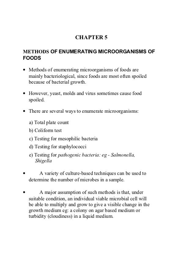 food microbiology chapter  chapter 5methods of enumerating microorganisms offoods• methods of enumerating microorganisms of foods are mainly bacteri