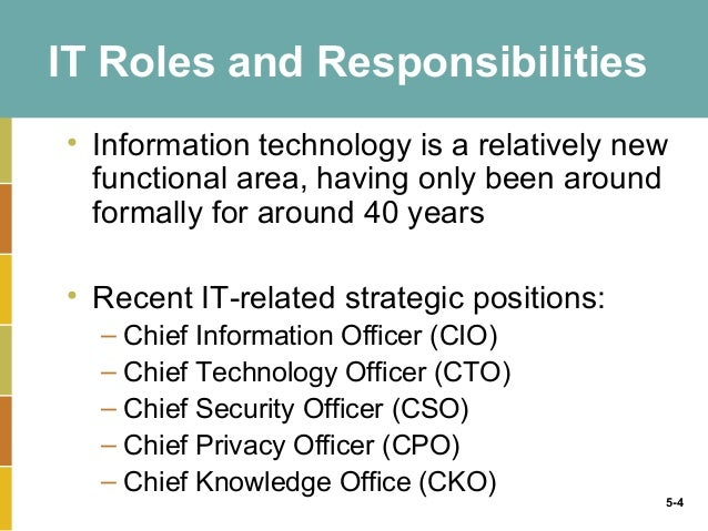 4 it roles and responsibilities information technology - Information Technology Responsibilities