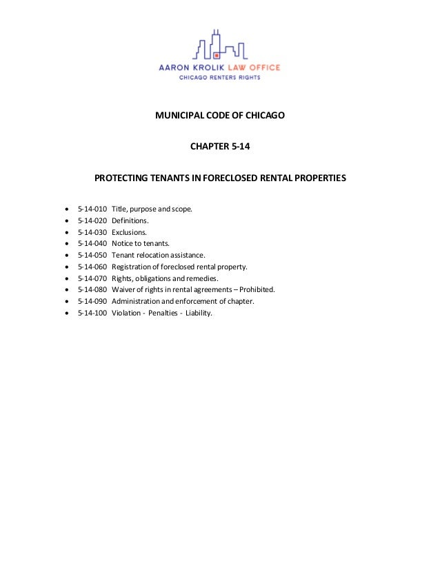 MUNICIPAL CODE OF CHICAGO CHAPTER 5-14 PROTECTING TENANTS IN FORECLOSED RENTAL PROPERTIES  5-14-010 Title, purpose and sc...