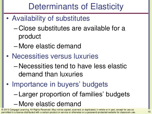 Determinants of Elasticity • Availability of substitutes –Close substitutes are available for a product –More elastic dema...