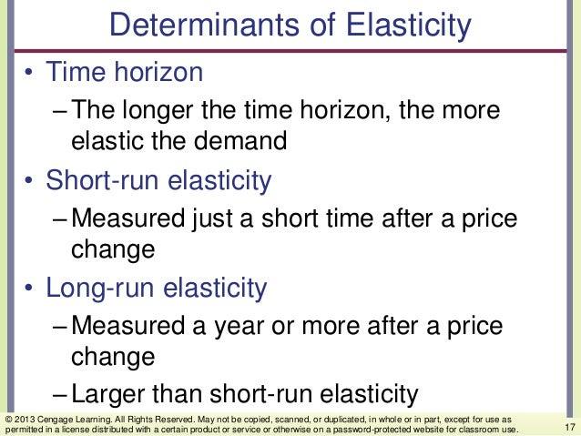 Determinants of Elasticity • Time horizon –The longer the time horizon, the more elastic the demand • Short-run elasticity...