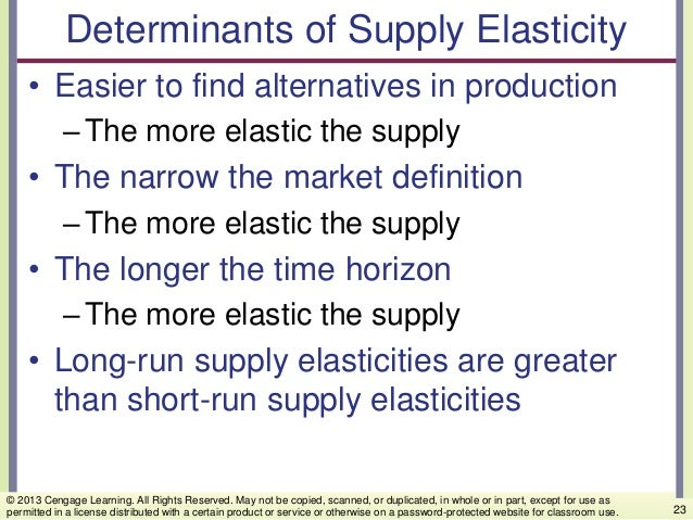 Determinants of Supply Elasticity • Easier to find alternatives in production –The more elastic the supply • The narrow th...