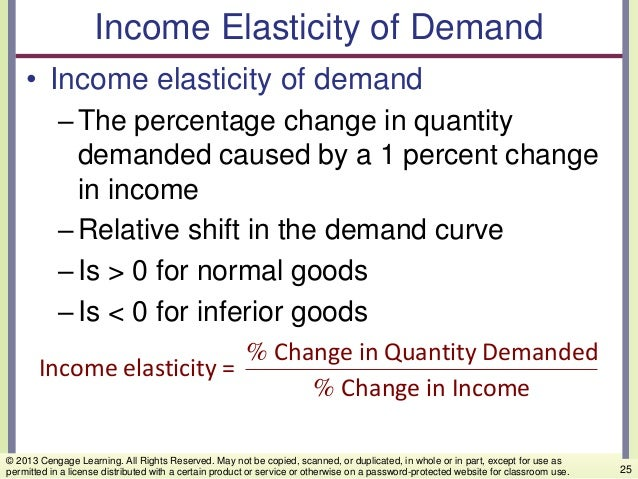 Income Elasticity of Demand • Income elasticity of demand –The percentage change in quantity demanded caused by a 1 percen...