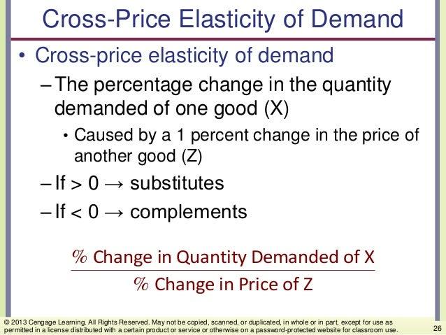 Cross-Price Elasticity of Demand • Cross-price elasticity of demand –The percentage change in the quantity demanded of one...