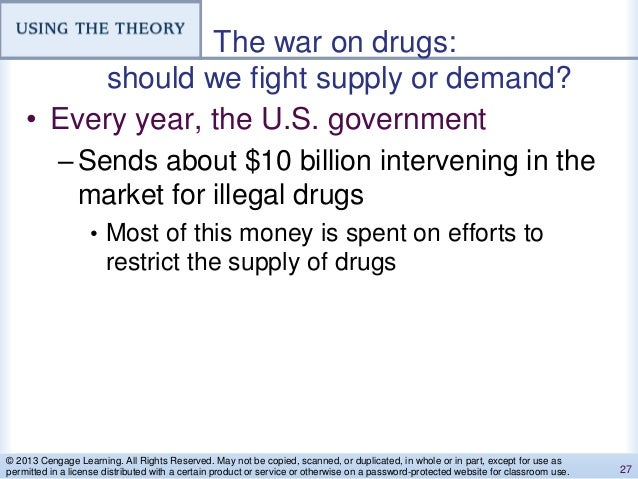The war on drugs: should we fight supply or demand? • Every year, the U.S. government –Sends about $10 billion intervening...