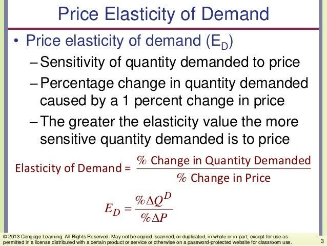 Price Elasticity of Demand • Price elasticity of demand (ED) –Sensitivity of quantity demanded to price –Percentage change...