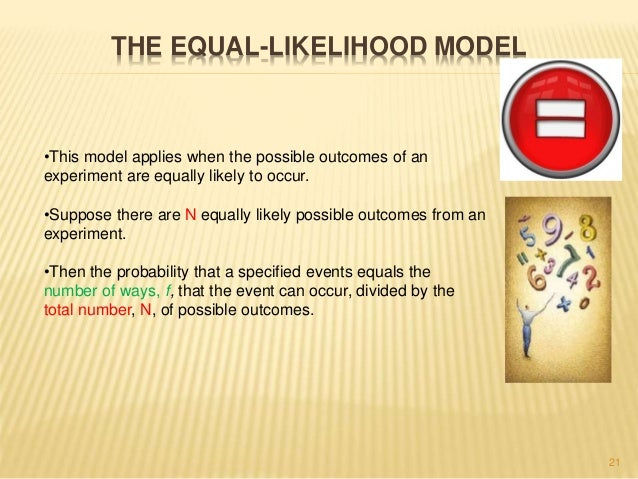 THE EQUAL-LIKELIHOOD MODEL  21  •This model applies when the possible outcomes of an  experiment are equally likely to occ...