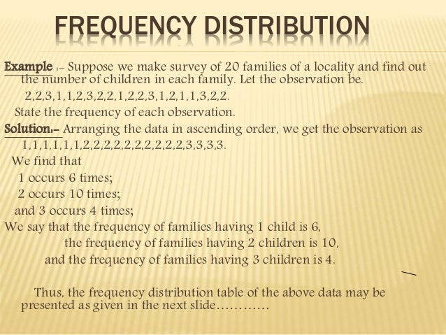 FREQUENCY DISTRIBUTION  Example :- Suppose we make survey of 20 families of a locality and find out  the number of childre...