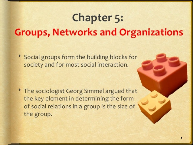Chapter 5:Groups, Networks and Organizations Social groups form the building blocks for  society and for most social inte...