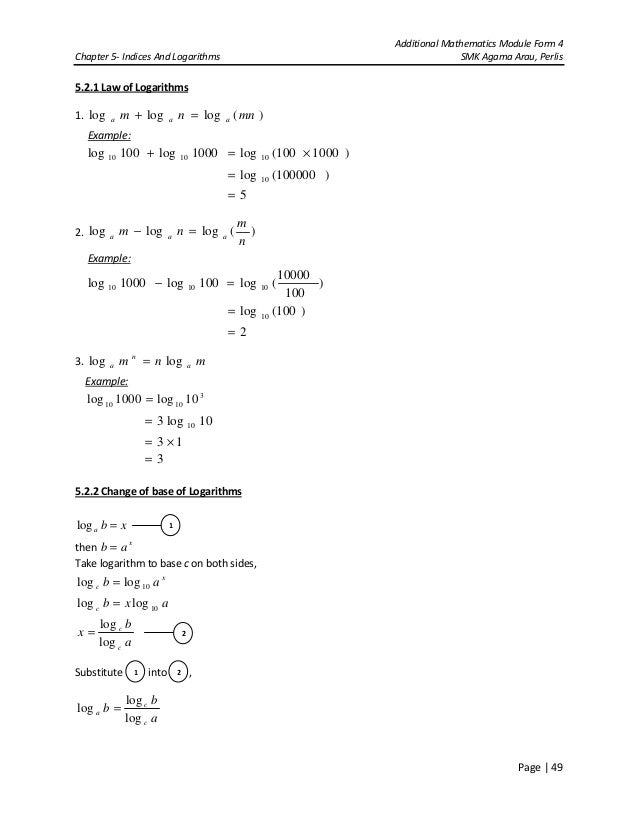 Chapter 5 indices & logarithms