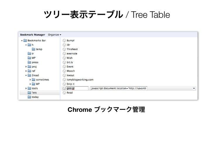 ツリー表示テーブル / Tree Table    Chrome ブックマーク管理