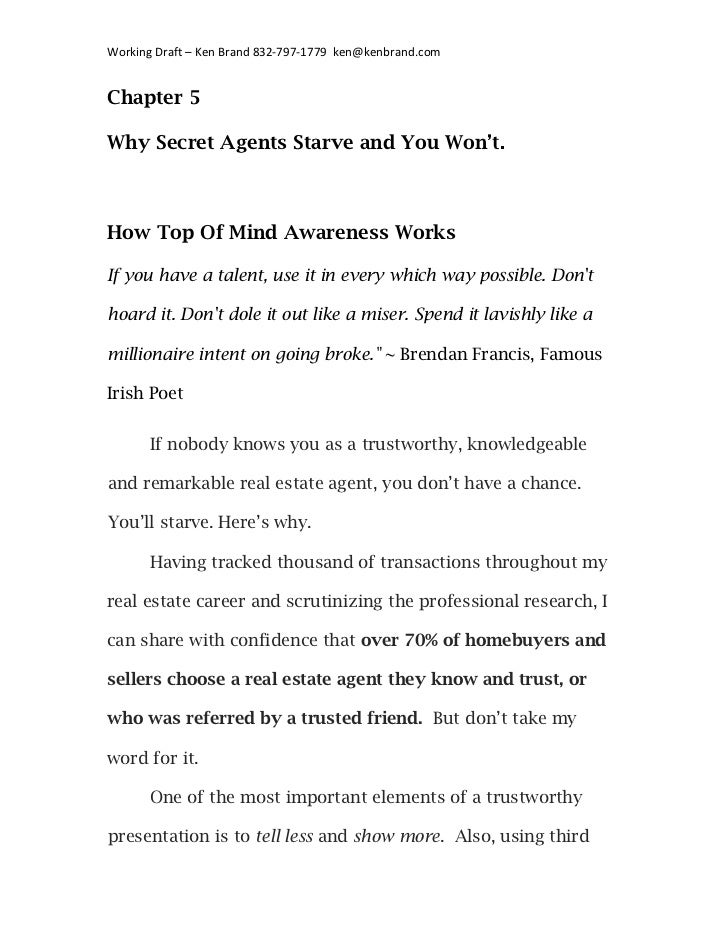 Working	  Draft	  –	  Ken	  Brand	  832-­‐797-­‐1779	  	  ken@kenbrand.com	  Chapter 5Why Secret Agents Starve and You Won...