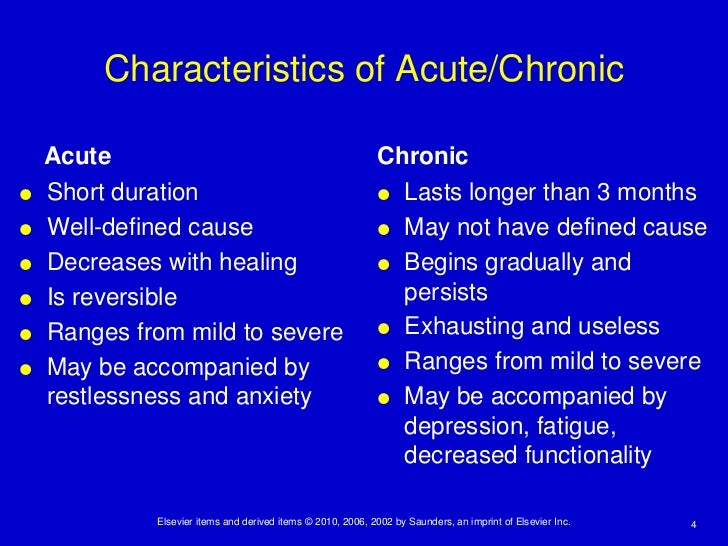 key differences between acute and chronic pain Difference between acute and chronic disease: some examples of problems or diseases that may be chronic are: osteoporosis, asthma, migraines, and back pain, heart disease and kidney problems key differences between chronic and acute diseases.