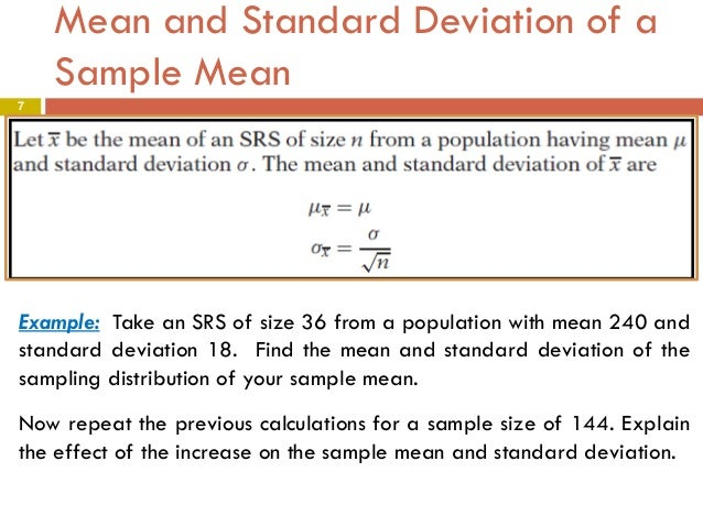 Chapter 5 part1- The Sampling Distribution of a Sample Mean