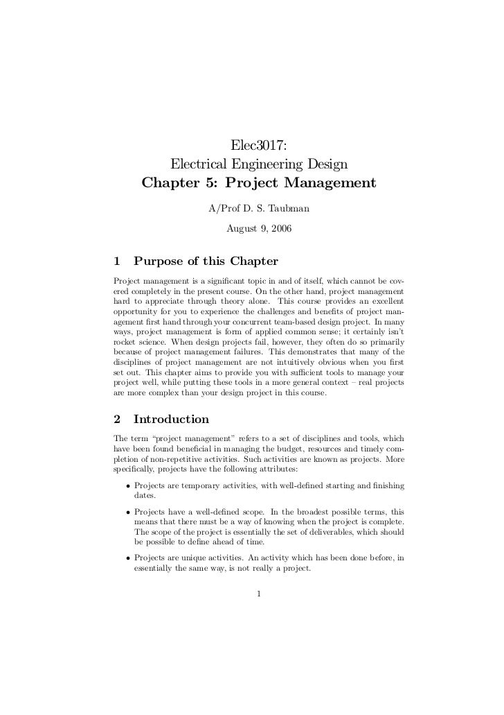 Elec3017:           Electrical Engineering Design        Chapter 5: Project Management                           A/Prof D....