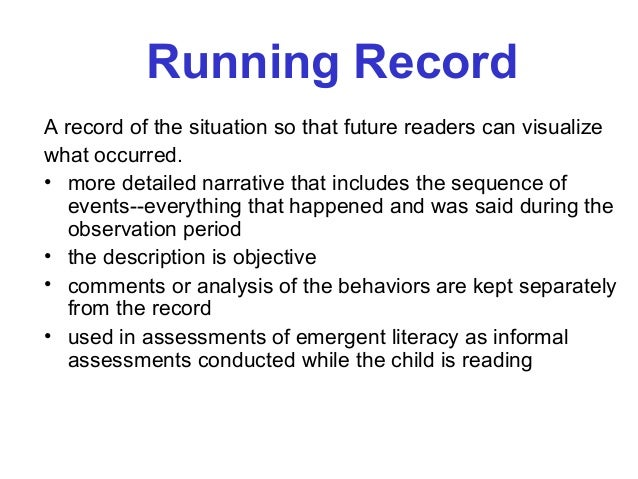 what is a running record observation
