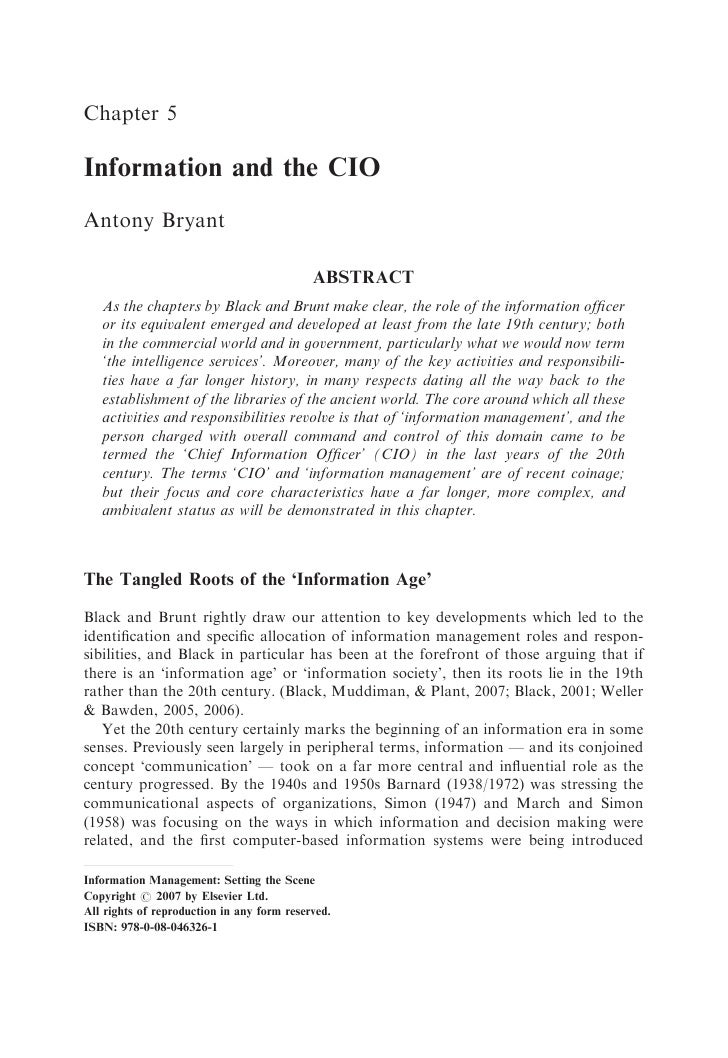 Chapter 5  Information and the CIO Antony Bryant                                              ABSTRACT    As the chapters ...