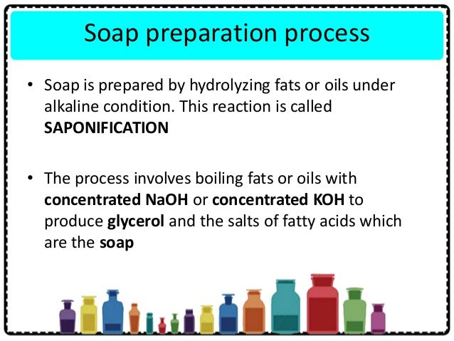 Soap preparation process • Soap is prepared by hydrolyzing fats or oils under alkaline condition. This reaction is called ...