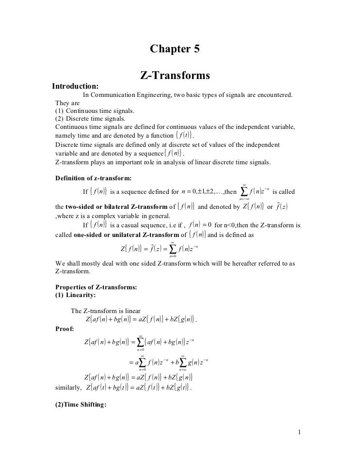 Chapter 5                                          Z-TransformsIntroduction:           In Communication Engineering, two b...