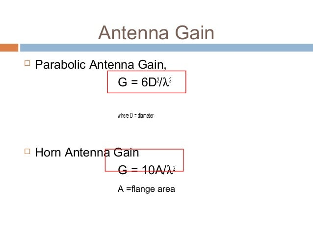 how to calculate gain of parabolic antenna
