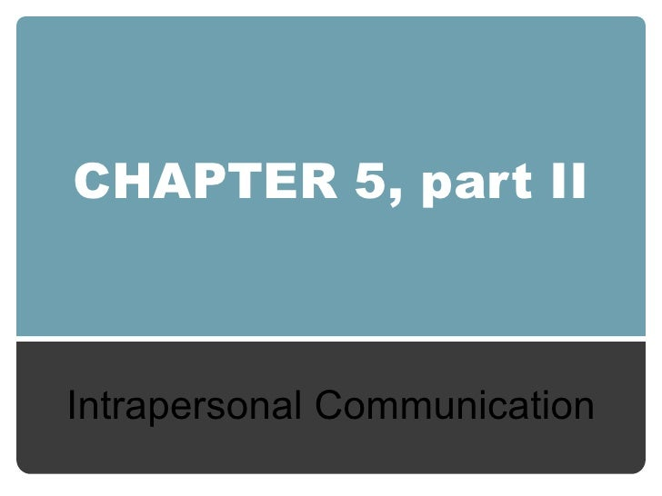CHAPTER 5, part II Intrapersonal Communication