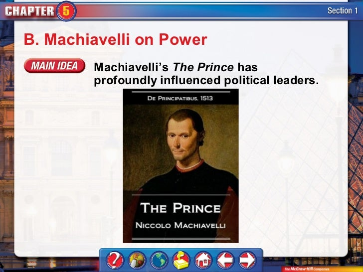 the political ideals of niccolo machiavelli expressed in the prince The myth of the corrupt immorality of niccolo machiavelli  based on machiavelli's most famous work, the prince,  ways to interpret machiavelli's political.