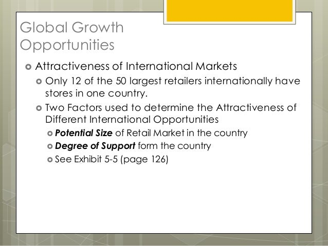 Global GrowthOpportunities Attractiveness     of International Markets     Only 12 of the 50 largest retailers internati...