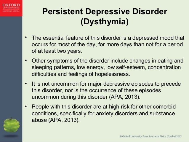 the causes and symptoms of dysthymia or dysthymic disorder
