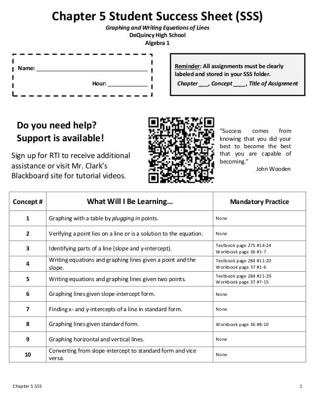 Chapter 5 Student Success Sheet (SSS)                                        Graphing and Writing Equations of Lines      ...