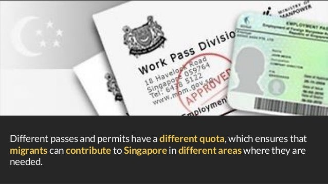 Different passes and permits have a different quota, which ensures that migrants can contribute to Singapore in different ...