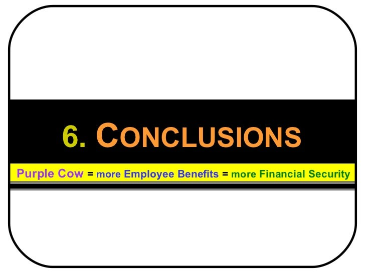 6.   C ONCLUSIONS Purple Cow   =  more  Employee Benefits  =   more  Financial Security