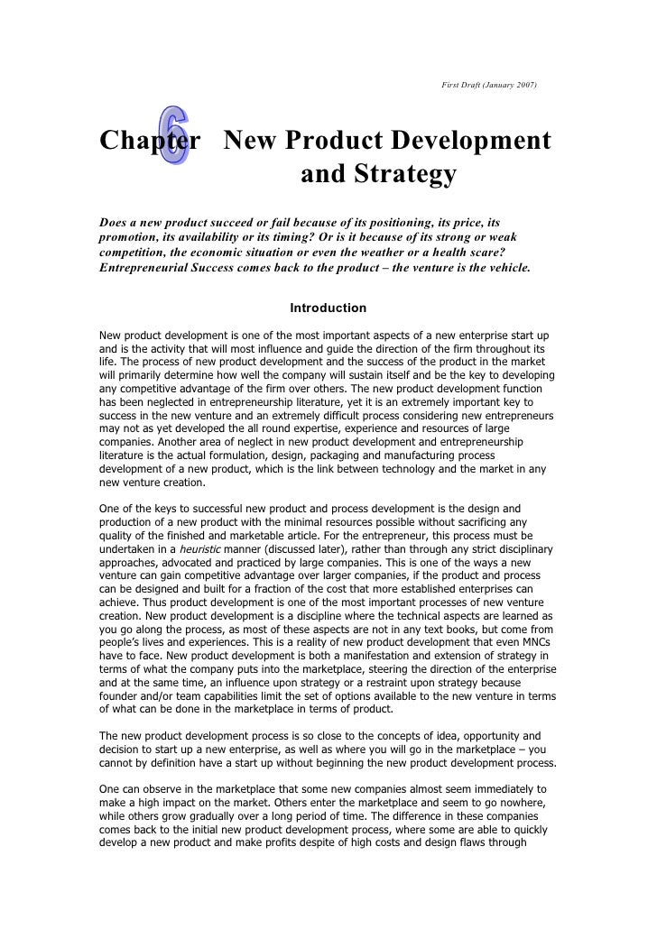 First Draft (January 2007)Chapter New Product Development             and StrategyDoes a new product succeed or fail becau...