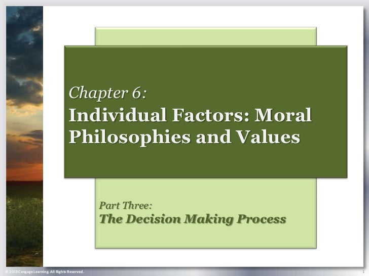Chapter 6:                                    Individual Factors: Moral                                    Philosophies an...