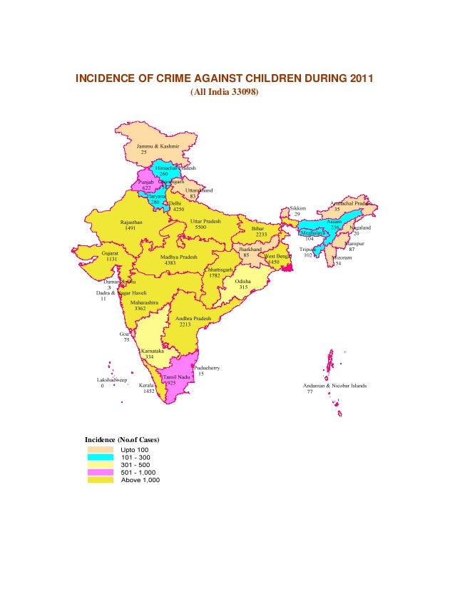 INCIDENCE OF CRIME AGAINST CHILDREN DURING 2011                           (All India 33098) Incidence (No.of Cases)