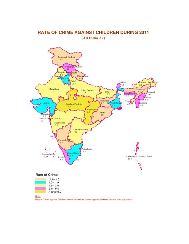 RATE OF CRIME AGAINST CHILDREN DURING 2011                                             (All India 2.7)Note:Rate of Crime a...