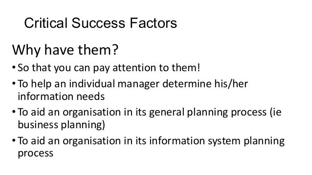 Finding your organisation's critical success factors – the missing link in performance management