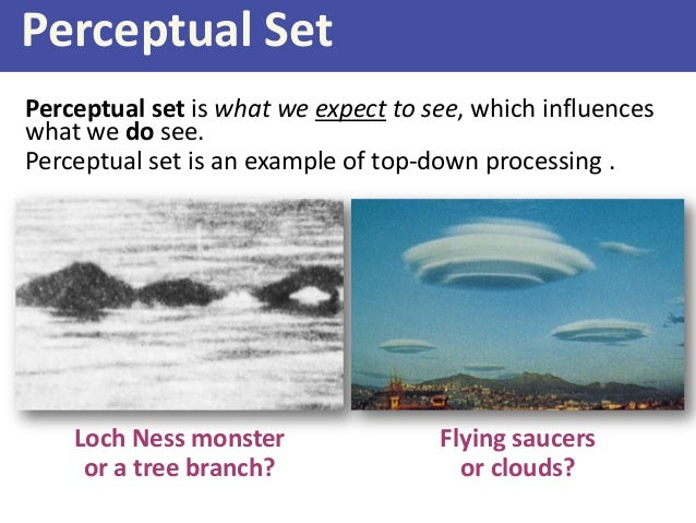 perceptual set Perceptual set is the predisposition, or 'readiness', to perceive something in accordance with what we expect it to be our expectations of what an object or event will be make us more likely to interpret the object or event in the predetermined way.