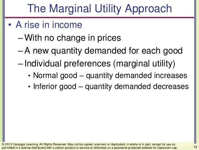 The Marginal Utility Approach • A rise in income –With no change in prices –A new quantity demanded for each good –Individ...