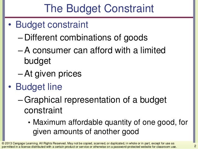 The Budget Constraint • Budget constraint –Different combinations of goods –A consumer can afford with a limited budget –A...