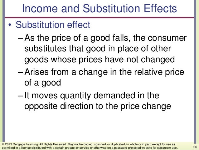 Income and Substitution Effects • Substitution effect –As the price of a good falls, the consumer substitutes that good in...