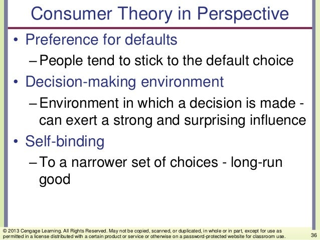 Consumer Theory in Perspective • Preference for defaults –People tend to stick to the default choice • Decision-making env...