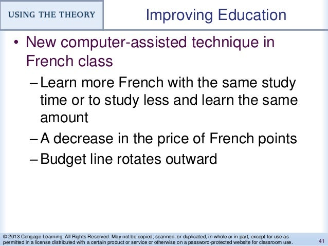 Improving Education • New computer-assisted technique in French class –Learn more French with the same study time or to st...
