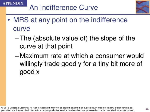 An Indifference Curve • MRS at any point on the indifference curve –The (absolute value of) the slope of the curve at that...