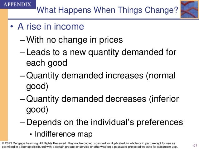 What Happens When Things Change? • A rise in income –With no change in prices –Leads to a new quantity demanded for each g...